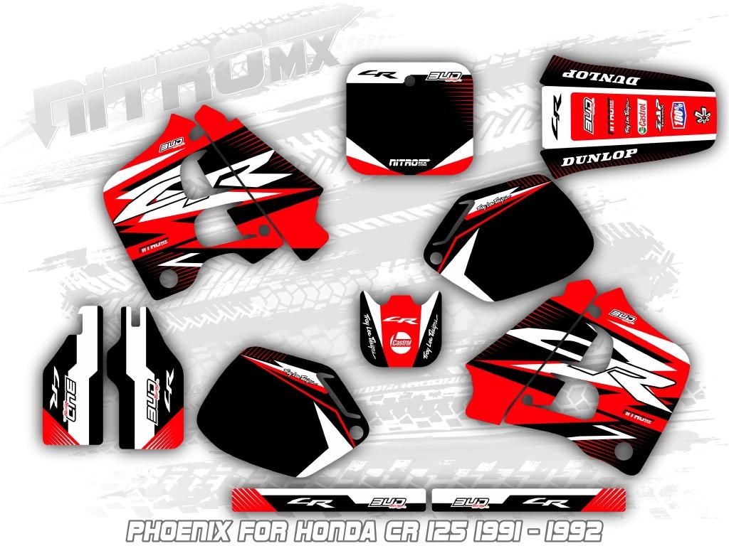 BLACK 1991 1992 CR 125 GRAPHICS CR125 MOTOCROSS DIRT BIKE FACTORY RED