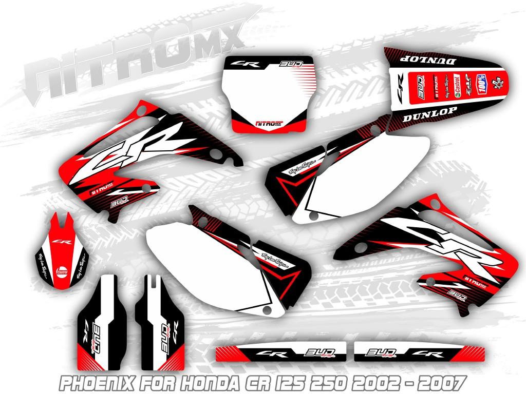 NEW DIRTX INDUSTRIES COMPLETE GRAPHICS CARMICHAEL HONDA CR125 CR250 2002-2007