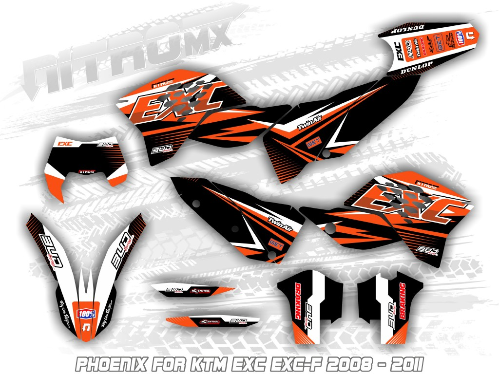 NitroMX Graphic Kit for KTM EXC EXC-F 125 250 300 450 525 2005 2006 2007 Enduro