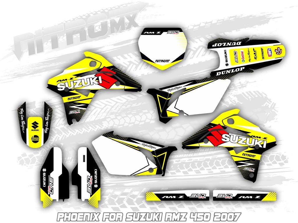 Nitromx Graphics Kit For Suzuki Rmz 450 2007 Motocross Decals Design Stickers Mx Ebay