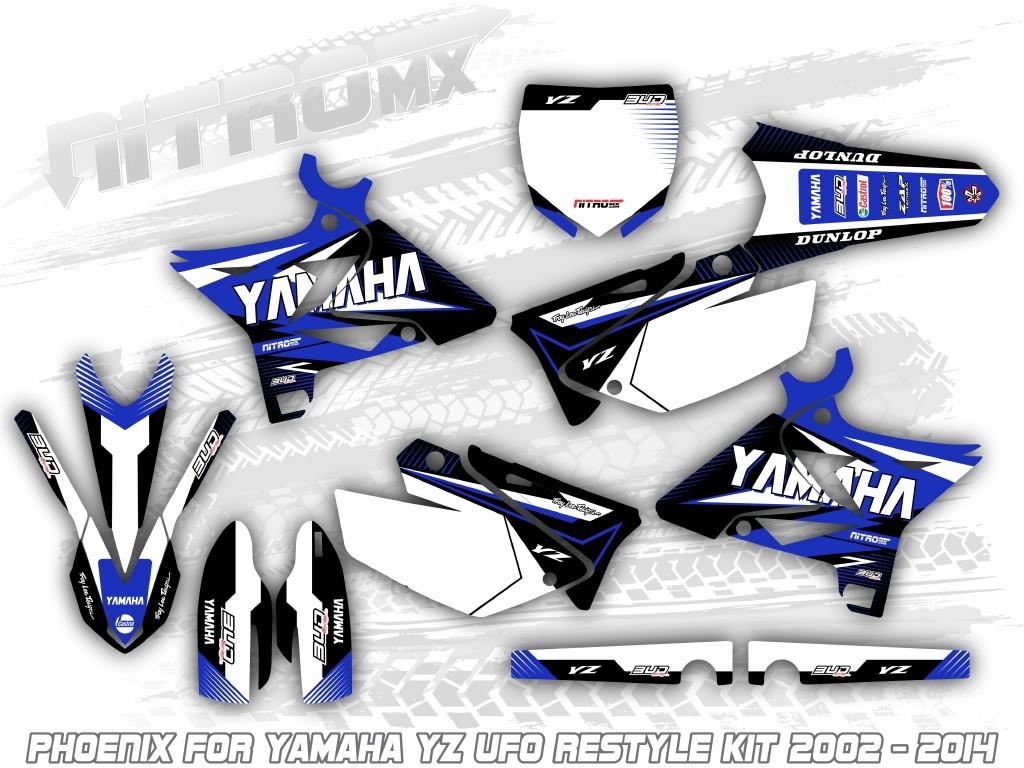 BLUE  DECALS 2008 2009 2010 2011 2012 2013 2014 YZ 125 250 YAMAHA RIDGELINE